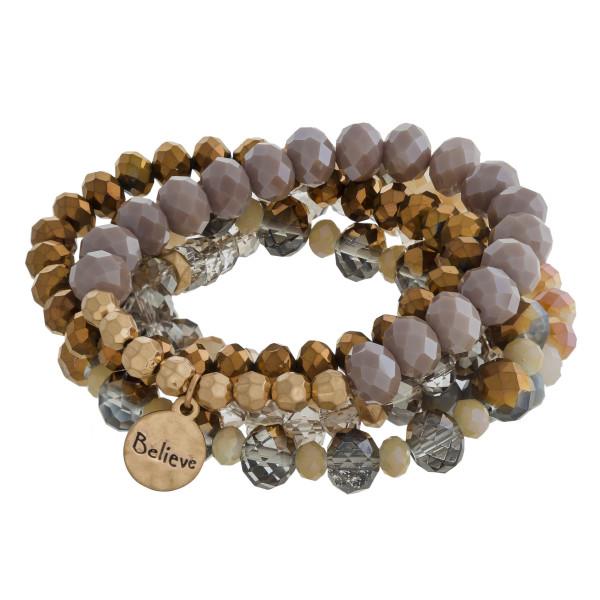 Faceted bead stretch five bracelet set.