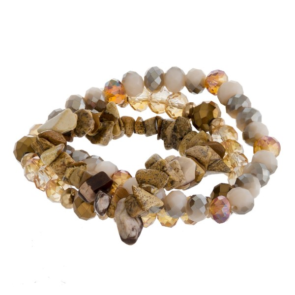 Faceted and natural stone beaded bracelet set.
