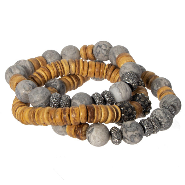 Natural stone and wooden beaded bracelet set.