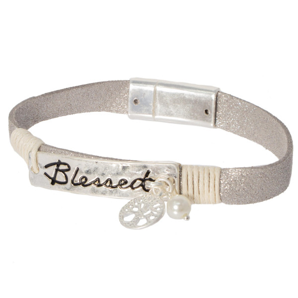 Silver magnetic bracelet stamped with Blessed.