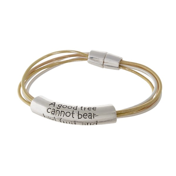 Magnetic metal bracelet with Matthew 7:18.
