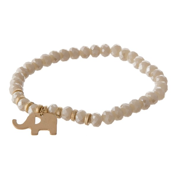 Stretch bracelet with elephant charm and faceted beads.