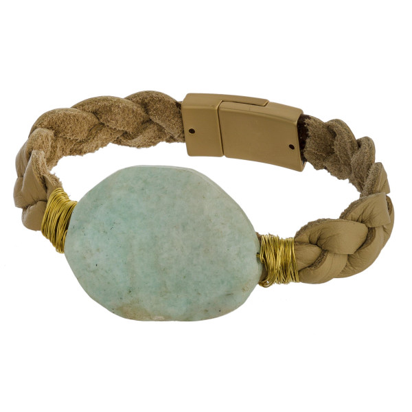Braided leather bracelet bracelet with natural stone focal and magnetic closure.