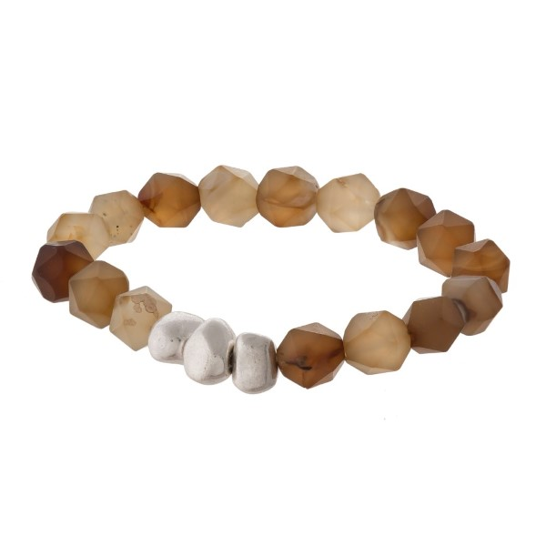 Faceted natural stone stretch bracelet.