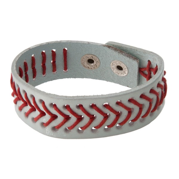 Leather bracelet with ball stitching.
