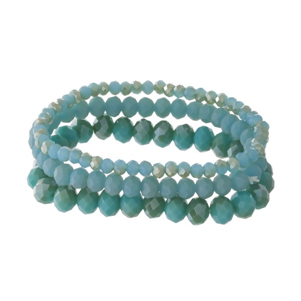 """Stretch bracelet set with faceted beads.Approximate 6"""" in length."""