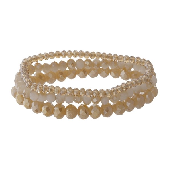 Faceted bead stretch bracelet set.
