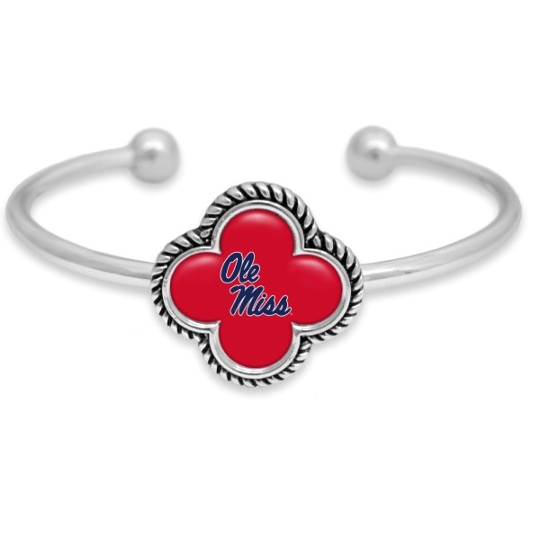 Officially licensed, silver tone cuff bracelet with the university logo.