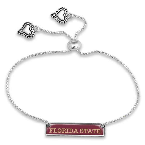 Officially licensed, silver tone adjustable bracelet with university name.