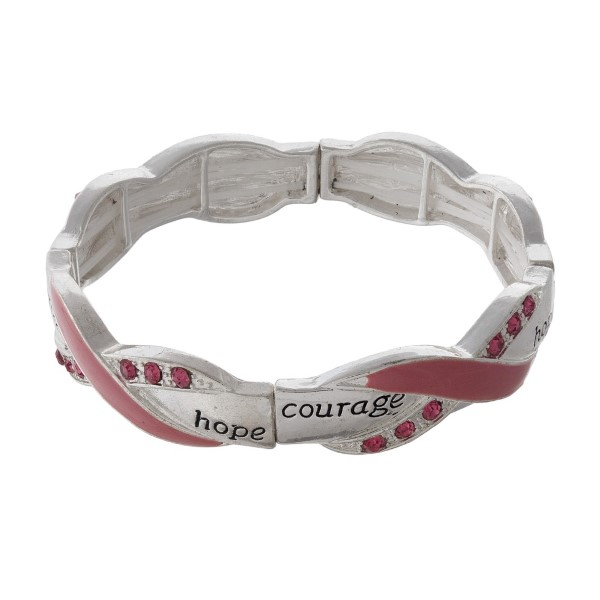 Metal stretch bracelet with breast cancer awareness ribbon.