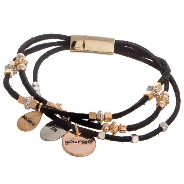 """Faux leather bracelet with bead detail. """"Believe in Yourself"""" Approximate 4"""" in length."""
