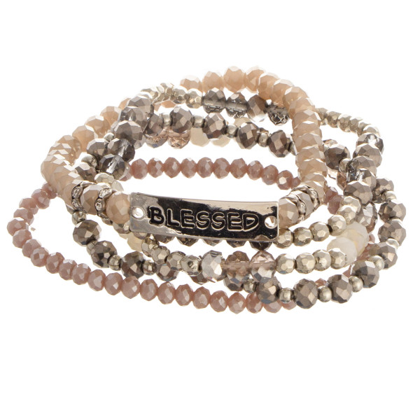 """Beaded stone stretch bracelet with a bar focal, stamped with """"Blessed."""""""