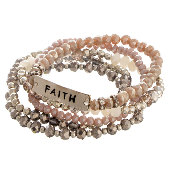 """Beaded stone stretch bracelet with a bar focal, stamped with """"Faith."""""""