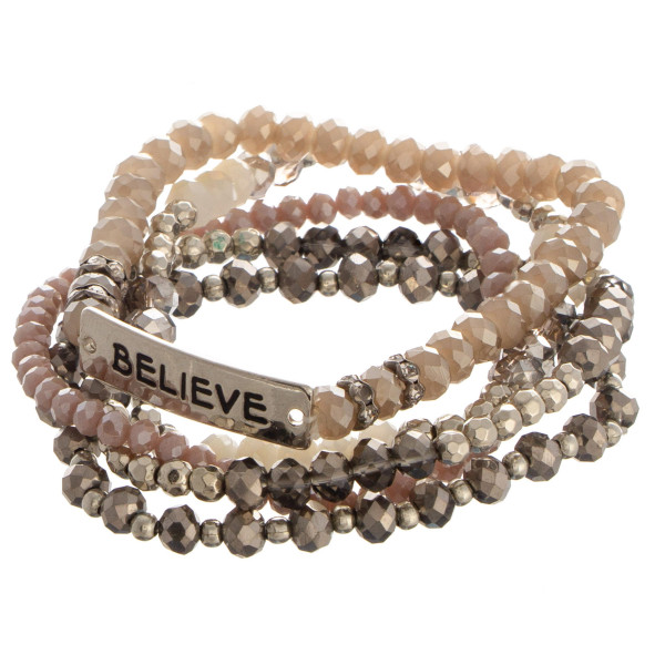 """Beaded stone stretch bracelet with a bar focal, stamped with """"Believe."""""""