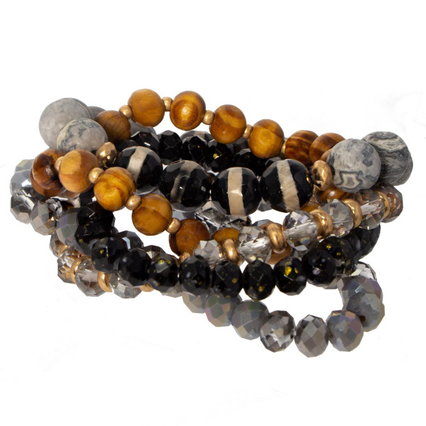 Natural stone, wooden and faceted bead bracelet set.