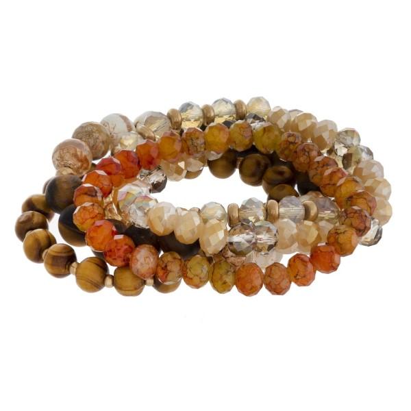 Beaded stretch bracelet set.