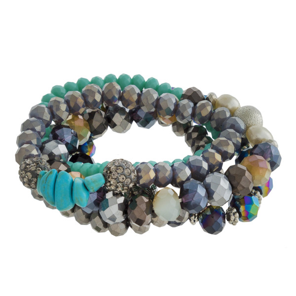 Faceted and natural stone beaded five bracelet set.