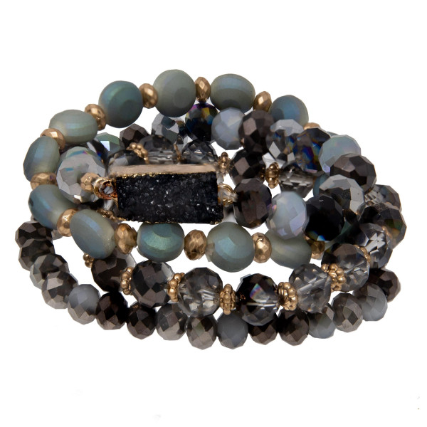 Faceted bead bracelet set with druzy focal.