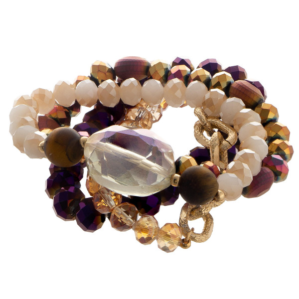 Beaded stretch multi bracelet set with oval jewel focal.