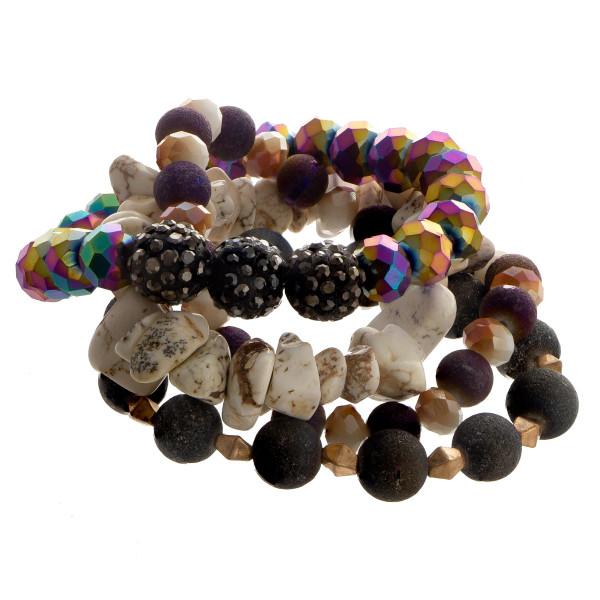 Beaded stretch multi bracelet set.