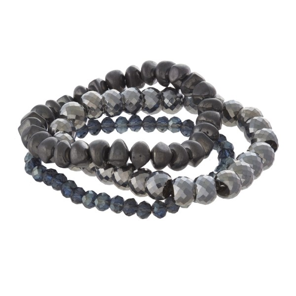Faceted bead bracelet set.