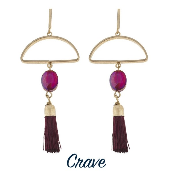 """Long gold tone stud earring with geometric shape and soft tassel. Approximately 2.5"""" in length."""