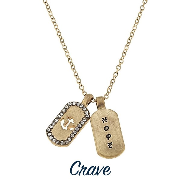 """Gold tone necklace with mini dog tag styles charms stamped with Hope. Approximately 16"""" in length with a 1/2"""" charm."""