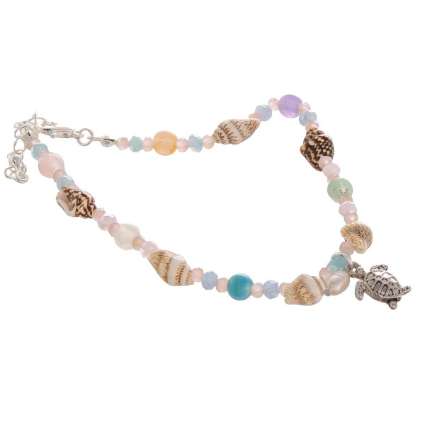 "Gorgeous bracelets with with charms and sea shells. Approximate 8"" in length."