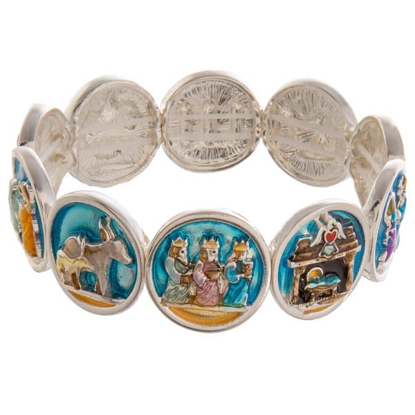 Nativity theme Christmas stretch bracelet.