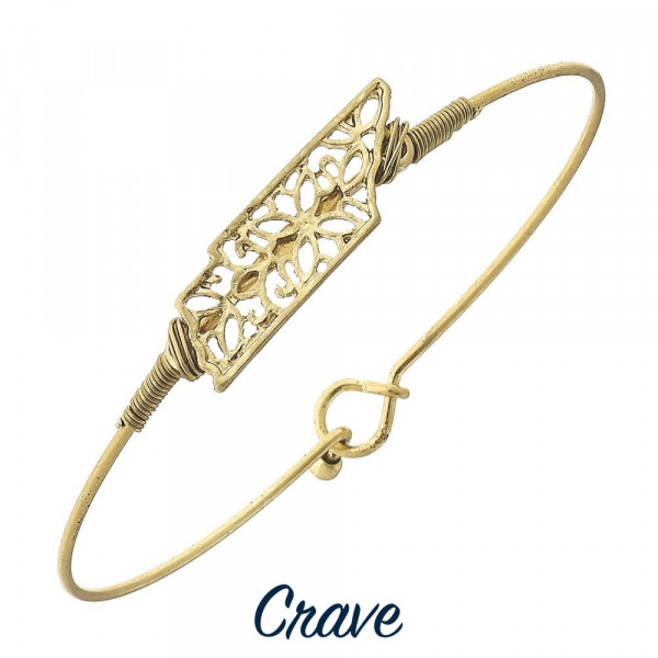 "Wire-wrapped filigree state bangle bracelet. Dainty focal is approximately 5/8"" wide, depending on the shape of the state."