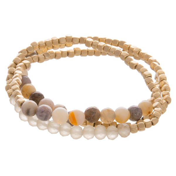 """Layered gorgeous bracelet with natural stone and beads. Approximate 3.5"""" in diameter."""