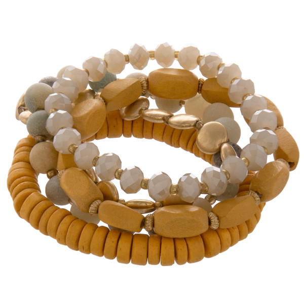 """Layered gorgeous bracelet with natural stone and beads. Approximate 3"""" in diameter."""