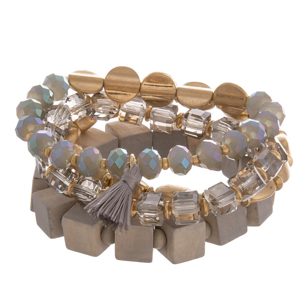 """Multi layered bracelet with natural stone, wood and bead detail.  Approximate 6"""" in length."""