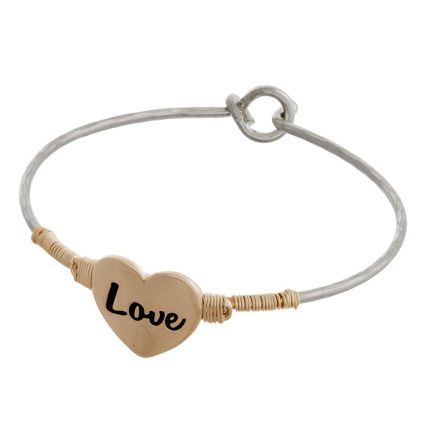 Wholesale two bangle bracelet wire wrapped heart engraved Love diameter Fits up