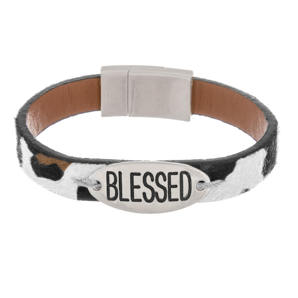 Wholesale furry faux leather bracelet Blessed engraved magnetic clasp closure di