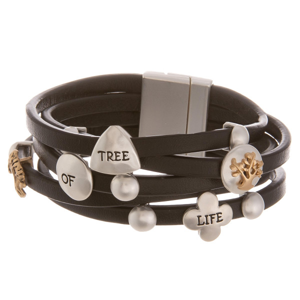 "Leather bracelet with inspirational message "" Tree of life ."" Approximate 8"" in length."