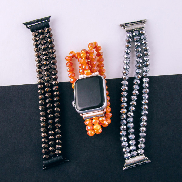 "Stretch beaded watch band for apple watches. Fits the 38mm size smart watch. WATCH NOT INCLUDED.  Approximate 6 1/2"" in length."