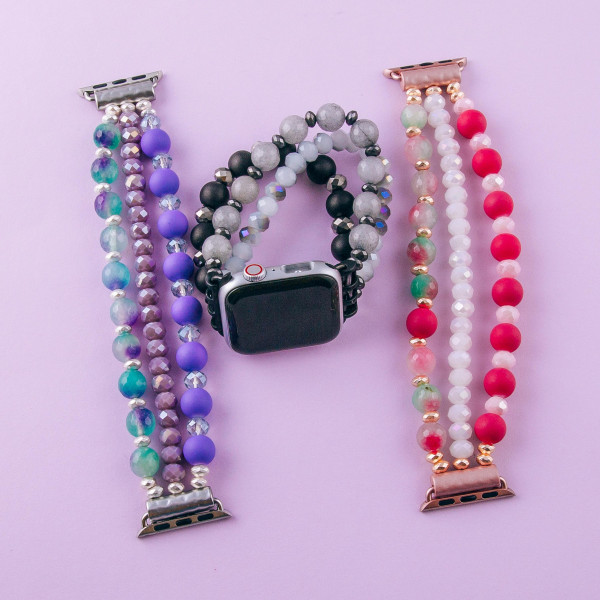 """Stretch beaded watch band for apple watches. Fits the 38mm size smart watch. WATCH NOT INCLUDED.  Approximate 6 1/2"""" in length."""