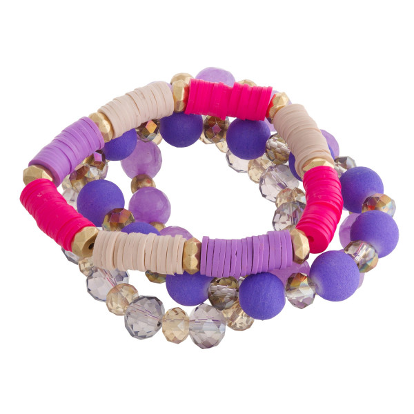 "Multi strand and color stretch bracelet with natural stone and beads. Approximate 6"" in length."