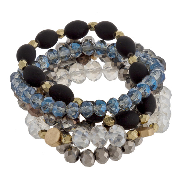 """Multi strand bracelet with beads and natural stone. Approximate 6"""" in length."""