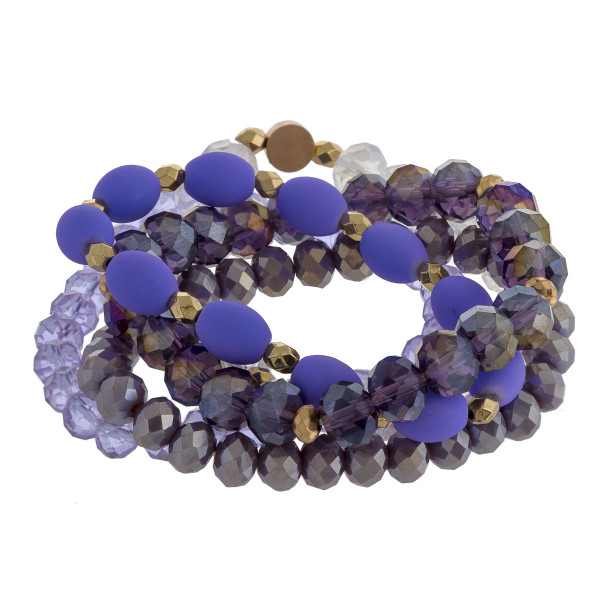 """Multi-strand bracelet with beads and natural stone. Approximate 6"""" in length."""