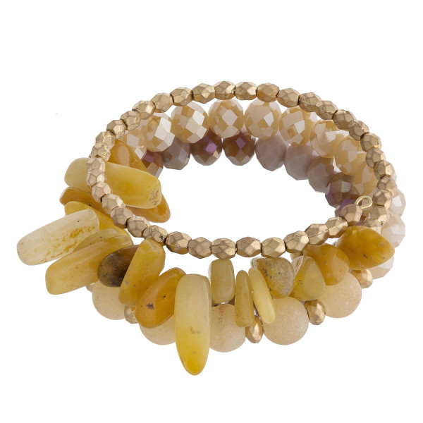 """Natural stone and beaded wrap bracelet. Approximate 24"""" in length."""