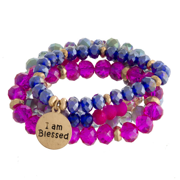 "Multi strand and color stretch with beads and ""I am blessed"" message.  Approximate 6"" in length."