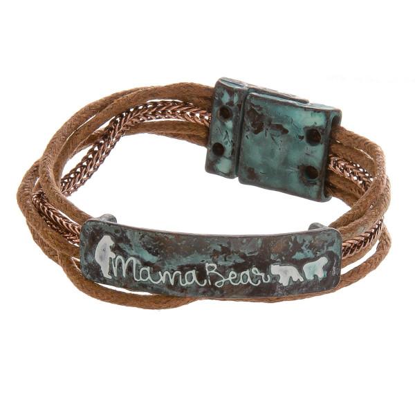 "Metal 'mama bear' magnetic bracelet. Approximate 8"" in length."