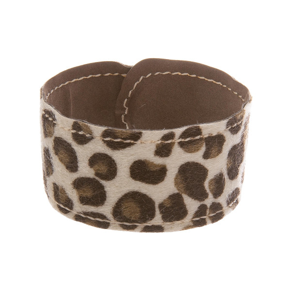"""Leather animal print snap bracelet. Approximate 8.5"""" in length."""