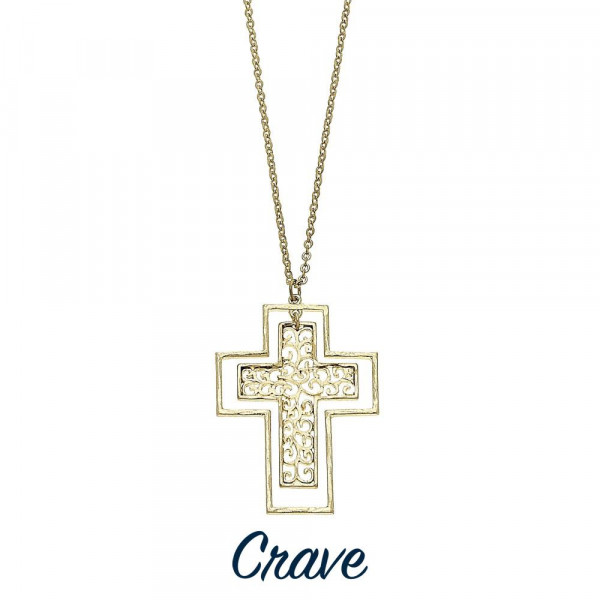 "Long filigree cross necklace with chain extender. Chain is approximately 30"" long. Pendant is approximately 2"" tall."