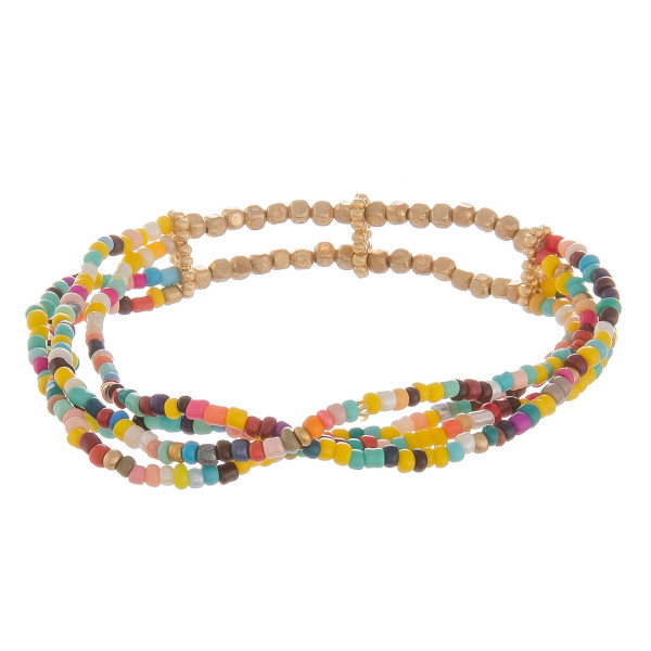 "Multicolor multi strand seed beaded stretch bracelet. Approximately 3"" in diameter."