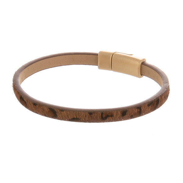 """Magnetic animal print leather bracelet. Approximate 8"""" in length."""