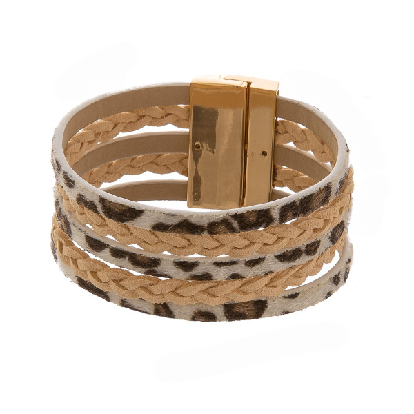 """Leather multi band bracelet with animal print. Approximate 7"""" in length."""