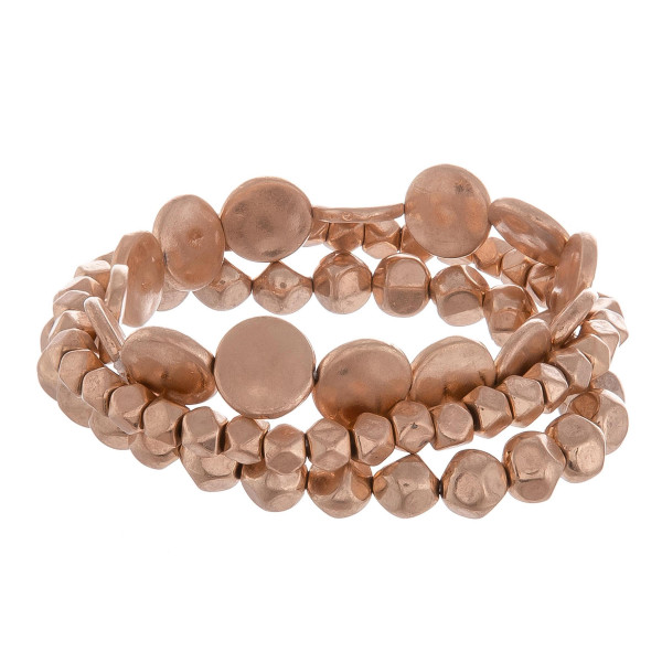 "Metal beaded multi strand bracelet. Approximate 6"" in length."